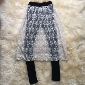 Pants - Lace Skirt with Leggings attached